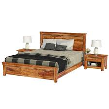 Solid Wood Platform Bed Frame Farmhouse Rustic Solid Wood Platform Bed