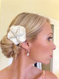 bridal hair clip and starfish brooch wedding hair clip