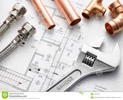 plumbing equipment on house plans royalty free stock photo image