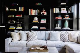 Behind Sofa Bookcase Assorted Gray Sofa Pillows Design Ideas
