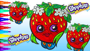 strawberry kiss shopkins coloring book page video fun activities