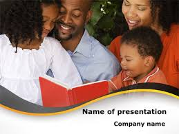 happy family reading bible powerpoint template backgrounds