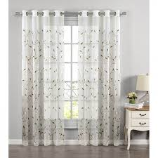 window elements wavy leaves embroidered sheer extra wide 54 x 84