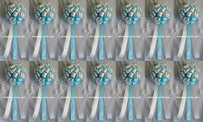 Wedding Pew Bows Set Of 14 Pool Blue Silver And Ivory Wedding Bows Pew Bows Church