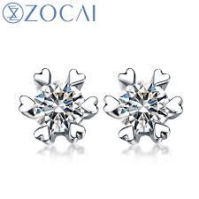 diamond ear studs aliexpress buy zocai phantom 0 5 ct certified f g