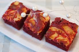 pink parsley red velvet brownies with cream cheese swirl