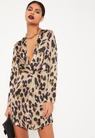 print dress animal print silky plunge wrap shift dress missguided