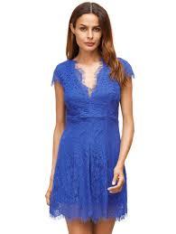 royal blue deep v neck cap sleeve lace dress shein sheinside