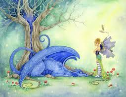 dragon art print blue has been a bad dragon fantasy