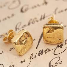gold stud earrings uk gold organic stud earrings by otis jaxon silver jewellery