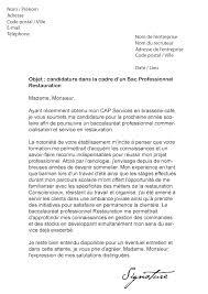 lettre de motivation cap cuisine lettre de motivation bac pro restauration modèle de lettre