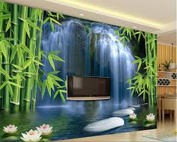3d Wallpaper Home Decor Beibehang Wall Paper Home Decor Bamboo Forest Waterfall Background