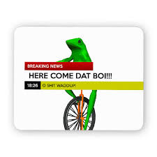 Meme Mouse Pad - here come dat boi frog unicycle meme funny desk mouse pad