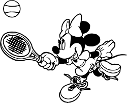 minnie tennis catch ball coloring page wecoloringpage