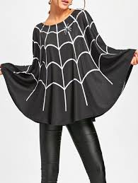 halloween spider web print swing poncho black m in capes