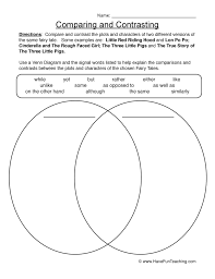 comparing and contrasting worksheet 1