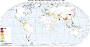 Earthquake World Map by Distribution Of Mortality Risk Associated With Earthquakes Maps