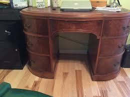 Kidney Shaped Writing Desk by Rockford Standard Furniture Kidney Shaped Desk Red Leather Top