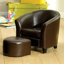 Children Armchairs Kids Brown Faux Leather Tub Chair And Stool Tub Chair Tubs And