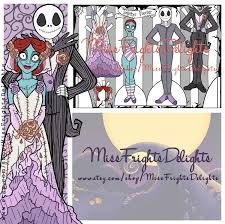 nbc jack and sally inspired wedding paper doll instant
