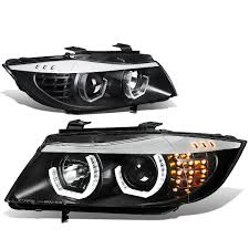 bmw headlights amazon com black headlight headlamp projector for bmw e90 e91 3