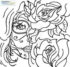 coloring pages of skulls and roses 10735