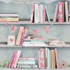 Shabby Chic Style Wallpaper by Arthouse Curious Bookcase Wallpaper 694000