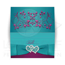 folded wedding place card teal plum magenta printed ribbon