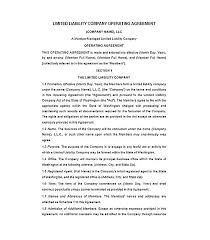 sample operating agreement agreements agreements sample