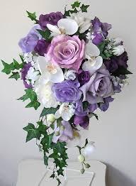 Cascade Bouquet Lavender U0026 White Or Ivory Roses Cascading Bouquet