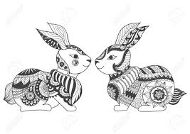 rabbits zentangle stylized coloring book tattoo