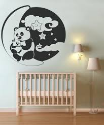 animal decals for walls animal vinyl wall decals vinyl wall decal sticker pandas with moon and stars os dc133