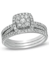 Zales Wedding Rings by Zales 1 Ct T W Composite Diamond Frame Bridal Set In 10k White