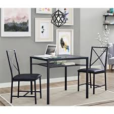 Glass Round Dining Room Table by Mainstays 3 Piece Metal And Glass Dinette Black Walmart Com