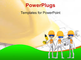 powerpoint template three white figures in safety vests and hard