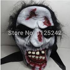online shop halloween horror face mask with wigs vinyl material