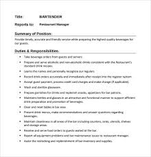 Bartender Resume Job Description by Bartender Resume Format