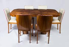 antique art deco walnut dining table u0026 6 chairs c 1930