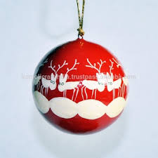 Reindeer Decoration Paper Mache Handmade Hand Painted Christmas Reindeer Decoration