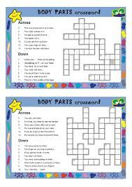7 free esl body parts crossword worksheets