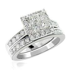 engagement rings sets and princess cut diamond engagement ring set 2 29ct 14k gold