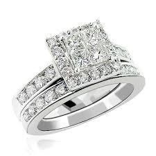 engagement rings sets and princess cut diamond engagement ring set 2 29ct 14k gold