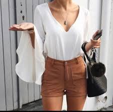 white flowy blouse shorts brown brown shorts blouse white blouse shirt dress