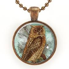 owl jewelry necklace images Great horned owl necklace bird pendant copper owl jewelry jpg
