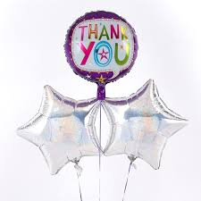 Balloon Delivery Purple Thank You Balloon With Silver Balloon Bouquet Inflated