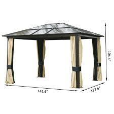 Patio Gazebo Canopy by Aosom Outsunny 12 U0027x10 U0027 Outdoor Gazebo Canopy W Mesh Curtains
