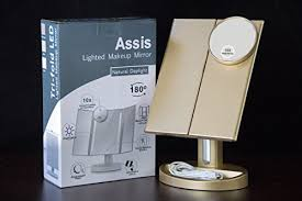 assis led lighted makeup mirror assis led lighted makeup mirror with 10x magnifying natural led