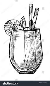 vintage cocktail alcoholic cocktail hand drawn sketch vector stock vector 554863933