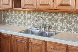decorative kitchen back splash with olive gold cream tile