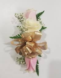 white wrist corsage pink and white wrist corsage with gold bow in philadelphia